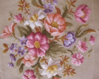 Antique Floral Needlepoint on Canvas, Hand Stitched, Pillow Cover, Chair Cover, Needlework, by mailordervintage on etsy