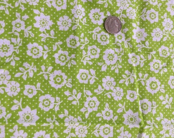Vintage Mod Folk Flower Power Fabric 1960s Dots Bright Green