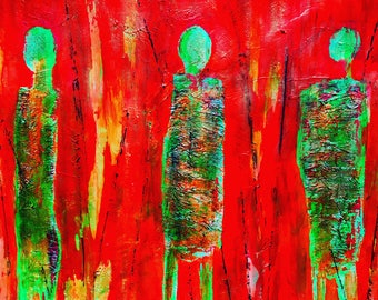 Trio in red - ooak - 17.3 x 15.7ins (44 x 40cms) Standing strong and proud in Africa