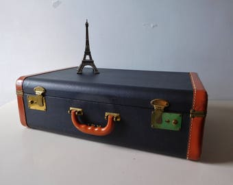 Vintage 1940s suitcase Black and brown suitcase 1940s luggage