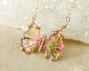 Rose Gold Watermelon Tourmaline Butterfly Necklace -  Butterfly Jewelry - Pink and Green