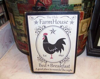 Farmhouse Bed and Breakfast sign block,Farmhouse decor,Rustic Farmhouse,Kitchen wall decor,Rustic home decor,Kitchen decor,Kitchen sign