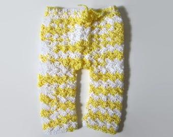 Newborn Pants, Crocheted Baby Pants, Yellow Baby Pants, Baby Bottoms, Newborn Photo Prop, Baby Shower Gift, Gender Neutral Pants, Unisex