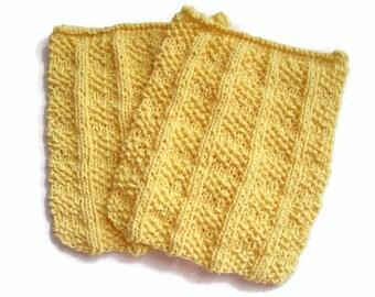 Knit Dishcloths, Kitchen Cloths, Yellow Dishcloths, Set of 2, Cotton Dishcloths, Housewarming Gift, Knit Washcloths, Hand Knit Dishcloths