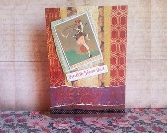 "Vintage Bookworm-Birthday 5x7"" As Gaeilge"