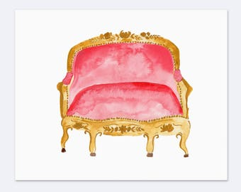 Pink Watercolor Vintage Couch - Art Print  - 8 x 10