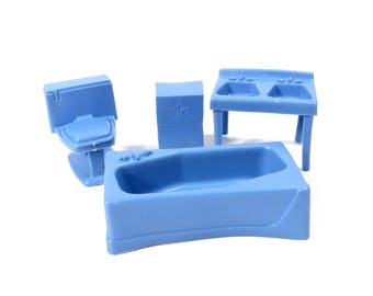 MPC Blue Bathroom Set Dollhouse Furniture Vintage 1960s Plastic Toilet - Tub - Double Sink - Shelf Doll House Furniture