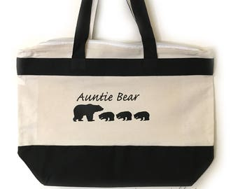 Auntie Bear Tote Gifts for Auntie Gifts Auntie Bear Gift For Mother's Day Gift Sister Birthday Accessory Tote For Aunt