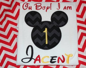 Mickey Mouse 1st birthday shirt - baby bodysuit, tshirt, or dress- you pick fabric- Minnie or Mickey Mouse