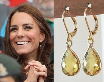 Kate Middleton Inspired Citrine Crystal Gemstone Gold Teardrop Earrings