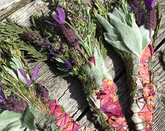 Fresh Herb and Flower Smudge Bundle