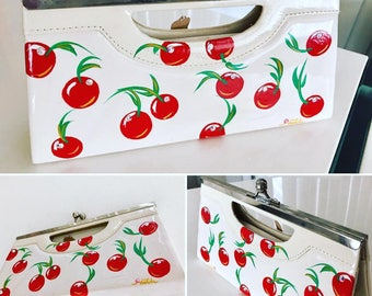 Adorable Vintage Purse with Handpainted Cherries and Rhinestones by Voodude Atomics