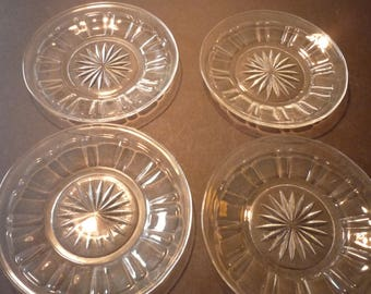 Set of Four Matching depression glass saucers - EAPG Mid Century 1950s -  Decorated Pressed Glass - coasters sunflower pattern 5 inch plates