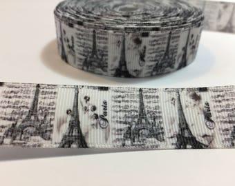 3 Yards of Ribbon - Paris Eiffel Tower 7/8 inch Wide