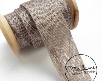 3cm Sinamay Bias Binding Tape Strip (1.6m/1.7yards) for Millinery & Hat Making - Pewter Grey
