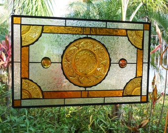 Stained Glass Transom Window, Depression Glass Stained Glass Window Panel, Sandwich Glass Stained Glass Plate Panel, Vintage Glass Valance