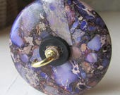 Drop Spindle 1.2 ounces 34 grams Poplar Shaft Purple Jasper and Pyrite Stone