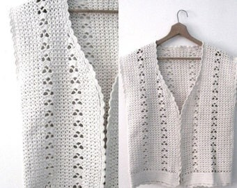 Spring SALE Vintage 60s crochet vest / Handcrafted Bohemian Folk  vest /  Natural cotton crochet waistcoat vest top