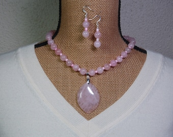 Natural Rose Quartz Gemstones, 925 Silver Necklace and Earrings