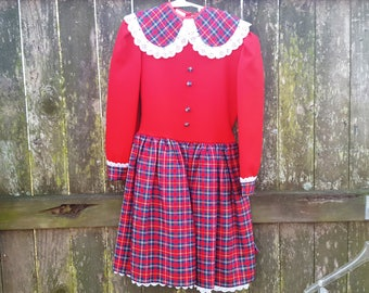 Girls Dress, Vintage Dress, Dance Costume, Scottish Dress, 80s Dress, Vintage Costume, Irish Dress, 80s Costume, Plaid Dress, Red Dress