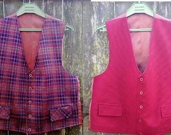 Mens Vest, 70s Vest, Vintage Vest, Reversible Vest, Vintage Costume, Double Knit Vest, 70s Costume, Maroon Vest, Plaid Vest, Vest Size XL