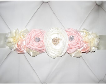 Women child baby satin Rhinestone flowers wedding dress flower girl comunion birthday baptism sash belt beige peach ivory pearls