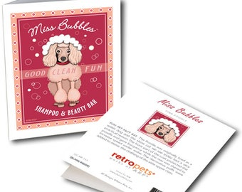 """Pink Poodle Cards  """"Miss Bubbles"""" 6 Small Greeting Cards by Krista Brooks"""