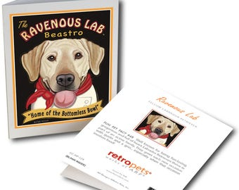 """Yellow Lab Cards  """"Ravenous Lab"""" 6 Small Greeting Cards by Krista Brooks"""