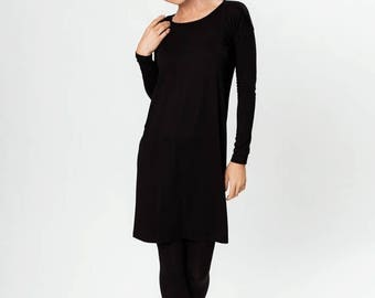 SALE - Black dress | Button dress | Simple dress | LeMuse black dress