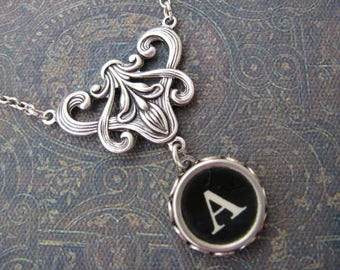 Typewriter Key Necklace - Stunning - Letter A