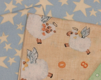 Angel Lamb Baby Quilt Kit-Fast-Easy-Soft Colors-Browns-Blues-Greens-Perfect for any Little Baby Boy Arrival!
