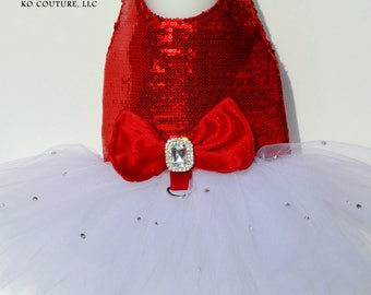 Glamorous Sequin Harness Dog Tutu Dress - Green or Red