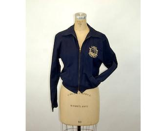1950s jacket camper jacket Champion navy blue zipped front jacket Camp Morehead bomber jacket Size S/M