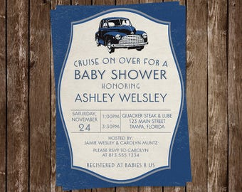 Vintage Car, Baby Shower Invitation, Cruise on Over, Navy, Blue, Coupe, Retro, Roadster, Cruiser, 10 Printed Invites, FREE Shipping, VCNB