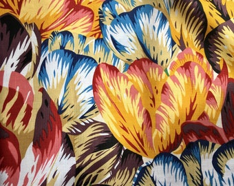 Philip Jacobs Tulip mania, natural, OOP, rare, blue, white red, Kaffe Fassett collective botanical print fabric, by the yard