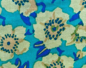 Kaffe Fassett OOP, rare, Anemone, green yellow, floral fabric by the half yard, yardage available