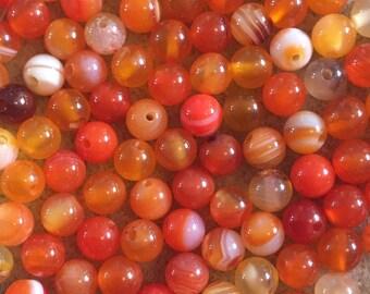 30 x 6mm orange striped agate semi precious beads