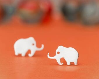 Mammoth Studs Elephant earrings sterling silver Ice Age Earrings Rose Gold Kid jewelry Teen Necklace Dinosaur necklace