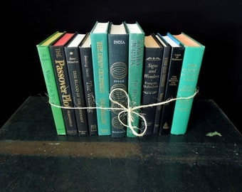 Black Green Book Set - Foot of Books - Hunter Teal Green Book Stack - Garden Decor Vintage - Retail / Home Staging
