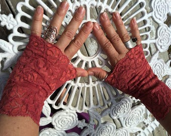 Cuffs - Burning Man - Lace Cuffs - Fingerless Gloves - Gypsy Boho - Clothing Accessory - Tribal - Dark Rose Lace - Sexy Gloves - One Size