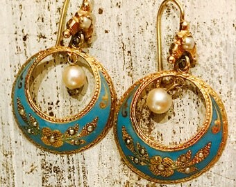Beautiful 14kt Gold Blue Enamel Natural Pearl Vintage Antique Earrings Victorian Jewelry