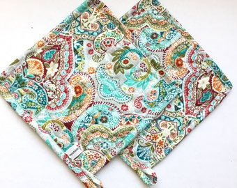 Quilted Hot Pot Holder and Trivet - Paisley Teal, Blue and Yellow