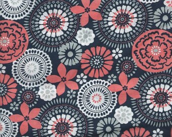 "ORANGE, NAVY, WHITE Cotton Fabric, 1 yard x 42"" inches wide.  Brand new."