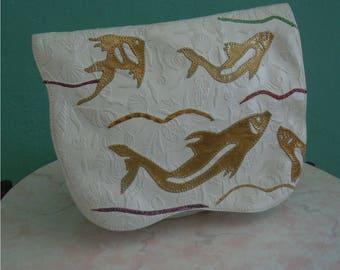 80's carlos falchi white leather fish hand bag