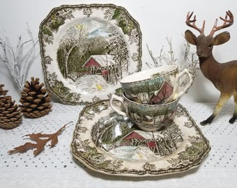 "Vintage Johnson Bros. The Friendly Village, ""The Covered Bridge"" 2 Square Plates, ""The Ice House"" 2 Teacups. Ironstone, Made in England."