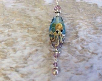 Octopus, Artisan made, Sea Glass, Necklace, Ocean, Beach, Nautical, Seashore, Coastal, Gift