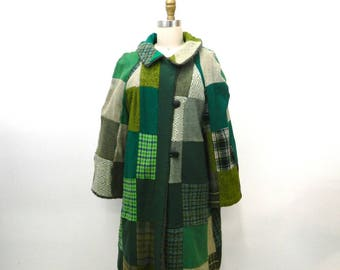 1950s Patchwork Coat...Heavy Winter Coat...Handmade...Collared...Upcycled...Green, Gray, Blue, Teal...Faux Fur Lining