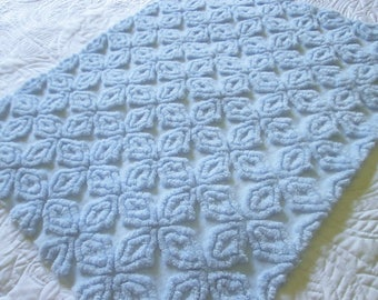 Vintage Chenille Bedspread Fabric Ice Blue Hofmann Open Star / Gothic Cross