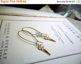 SALE Cut... Little Scissor Earrings. Raw golden brass mini Victorian scissors earrings Hair stylist hairdresser beautician.