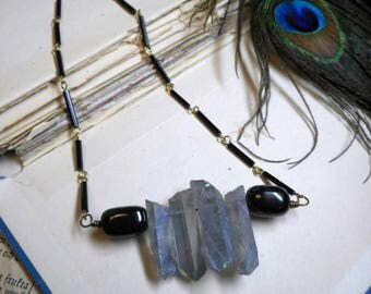 SALE Black Cloud, Silver Lining Necklace. Silvery Pale blue Gray rough raw Quartz & Black Amber. Boho Storm cloud amulet. Harbinger Talisman